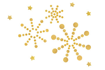 Glitter star and dot firework paper cut background - isolated