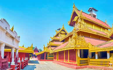 Richly decorated building of the Royal Palace in Mandalay, Myanmar