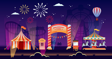 Night amusement park vector illustration. Carousels, circus, fair in park. Carnival, festival and entertainment themes