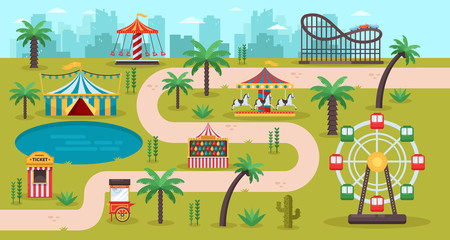 Amusement park map concept. Fun carousels, circus, ferris wheel, fair in family park, vector illustration.