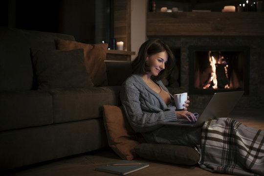 A Woman Enjoying Wintertime at Home