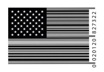 Concept du monde de la consommation et du commerce avec un code barre en forme de drapeau américain