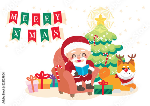 Christmas Day Celebration.Santa Claus Celebration Christmas Day Background Vector