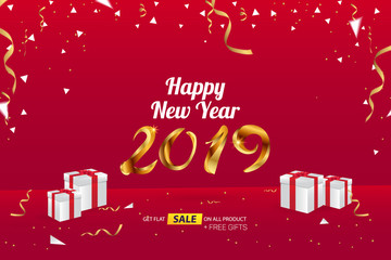 Happy New Year 2019 Sale Banner Advertising Vector Template Design
