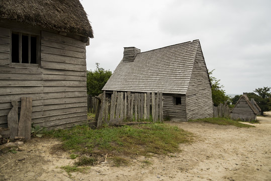 Old buildings in Plimoth plantation at Plymouth, MA