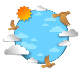 Birds flock flying among beautiful clouds and sun in the sky, summer ease and peaceful feeling, vector illustration in paper cut kids style.