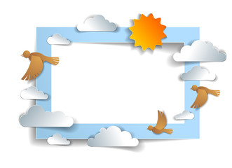 Birds flock flying among beautiful clouds and sun in the sky, background or frame with copy space for text, summer ease and peaceful feeling, vector illustration in paper cut kids style.