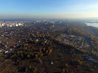 Aerial view of the countryside (drone image).  Dnepr river.Near Kiev