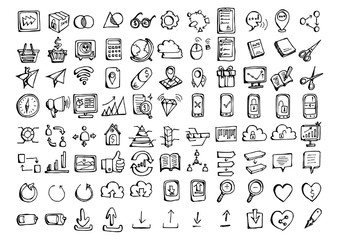 Set of vector Business doodle drawing icon Collection on white background eps10