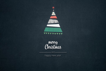 Merry Christmas and happy new year greetings in vertical top view dark blackboard with paper gift wraps christmas tree pine design.Xmas winter holiday season social media card background