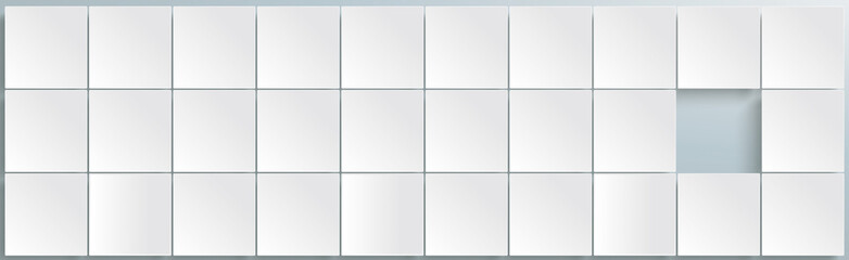 White Squares Abstract One Hole Header