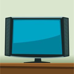 vector cartoon modern television monitor background border illustration template