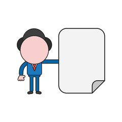Vector illustration of businessman character with blank paper. Color and black outlines.
