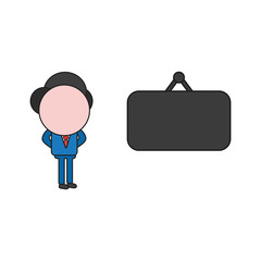 Vector illustration of businessman character with blank hanging sign. Color and black outlines.