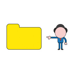 Vector illustration of businessman character pointing closed file folder. Color and black outlines.