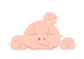 Family of Happy Pigs