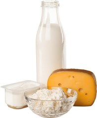 Dairy Products: Cheeses, Yoghurt and Milk - Isolated