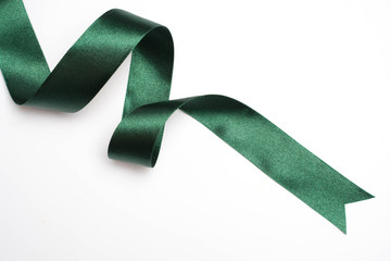 green ribbon border isolated on white Wall mural