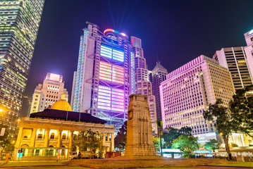 The Cenotaph and the Court of Final Appeal Building in Hong Kong at night