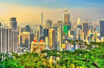 Foto auf Gartenposter Hongkong Skyline of Hong Kong from Victoria Peak
