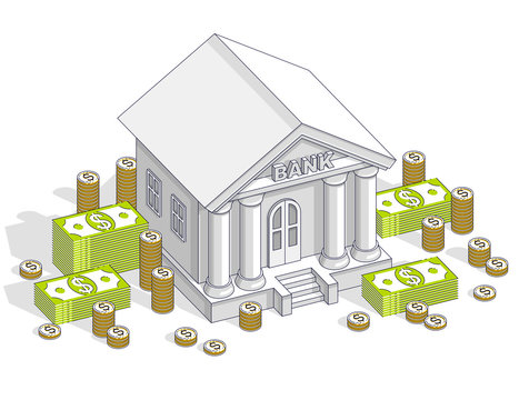 Bank building with cash money dollar pile and coin stack cartoon isolated over white background. Vector 3d isometric business and finance illustration, thin line design.