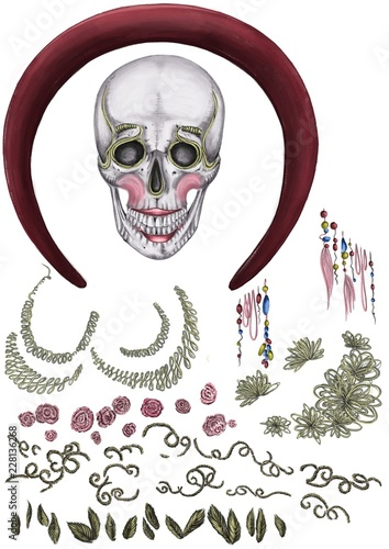 Day of death  Halloween  Illustration of an isolated skull with
