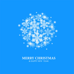 Merry Christmas template with illustration of snowflake
