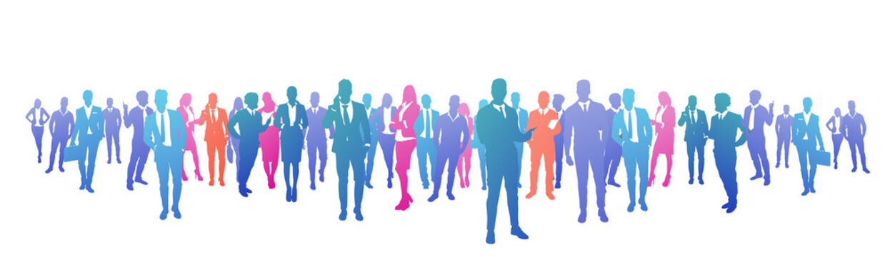 colourful success business people silhouette, group of diversity businessman and businesswoman successful team concept banner vector illustration
