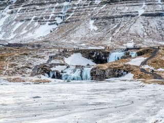 Kirkjufellfoss waterfall in winter, Iceland