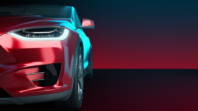 front of the red car front view 3d render in darck