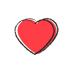 Red frosted heart and black contour. Close-up. Isolated object on white background. Vector image. Texture.