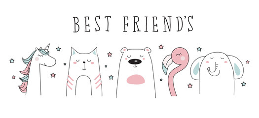 unicorn, cat, bear, flamingo, elephant doodle best friends vector illustration