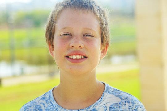 Close up portrait of emotion cute autistic boy