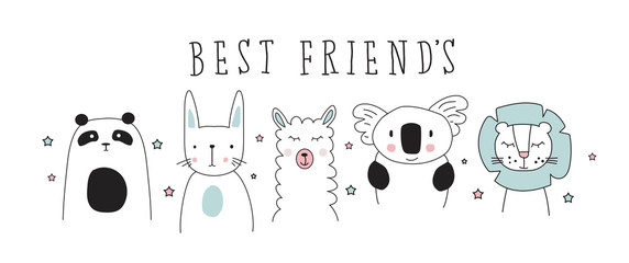 panda, rabbit, llama, koala, leon doodle best friends vector illustration