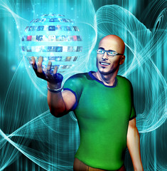 Man gazes into media sphere