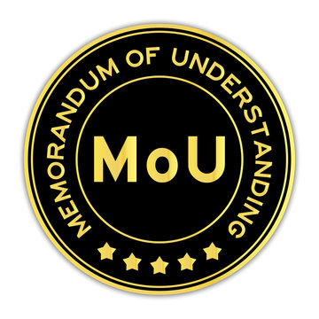 Black and gold MOU (abbreviation of memorandum of understanding) word round seal sticker on white background