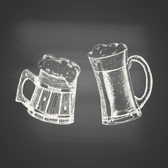 Glass and wooden mugs with beer and beer foam overflowing over the edge on chalkboard. Hand drawn sketch in vintage engraving style. Light Alcohol Drink. Vector illustration for Oktoberfest.