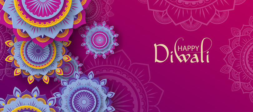Happy Diwali Hindu poster with traditional ornament.