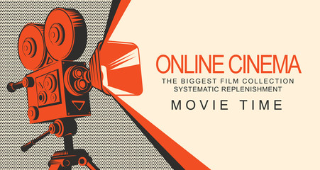 Vector online cinema poster with old fashioned movie projector. Vintage retro movie camera with light. Online cinema concept. Movie time. Can be used for flyer, banner, poster, web page, background
