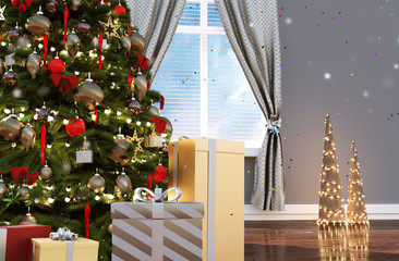 Christmas tree decorated in living room in christmas,3d illustration