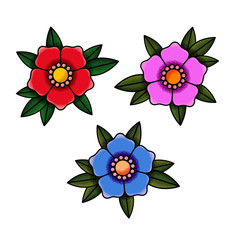 Flowers old school tattoo. Set of colors red, pink, blue. The texture of the noise. Isolated on white background. Vector illustration.