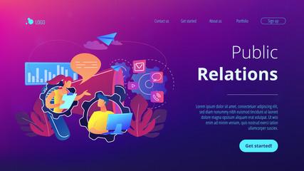 Public relations concept landing page.