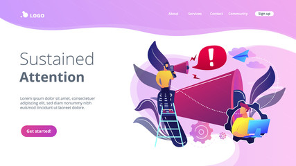 Draw attention concept landing page.