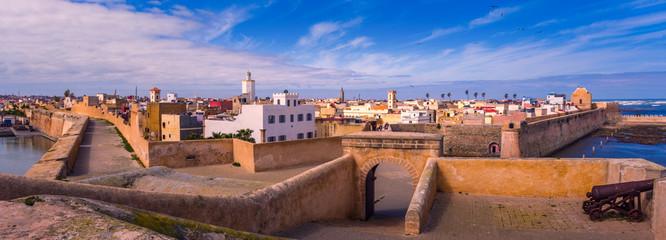 Foto op Plexiglas Marokko Panorama Portuguese fortress of El Jadida city in Casablanca-Settat, Morocco.
