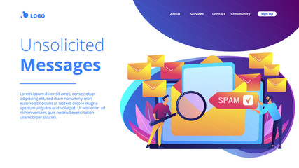 Spam concept landing page.