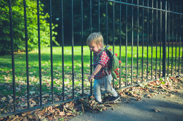 Toddler walking in park on autumn day