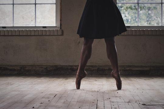 Ballet dancer dancing on wooden floor