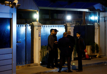 Security officers are seen in front of the residence of Consul General of Saudi Arabia Mohammad al-Otaibi in Istanbul