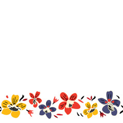 Vector seamless repeat colorful floral border pattern with blue, red, and yellow flowers and white background.