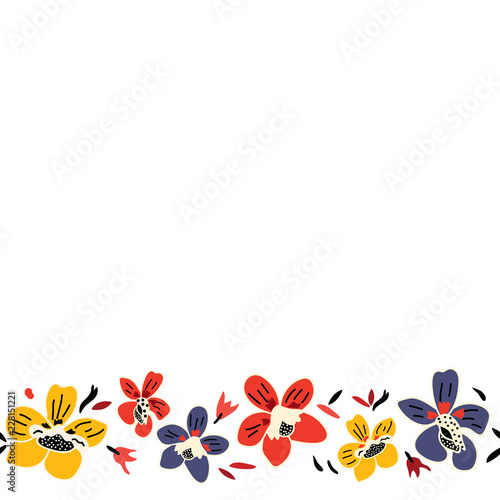 Vector Seamless Repeat Colorful Floral Border Pattern With Blue Red